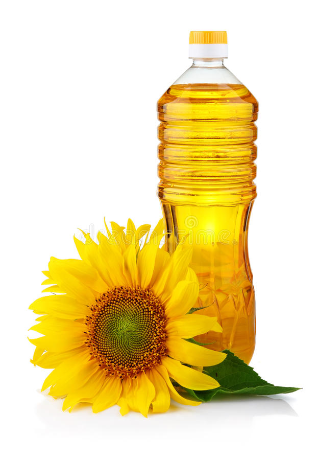 солнцецвет масла бутылки изолированный цветком стоковые изображения