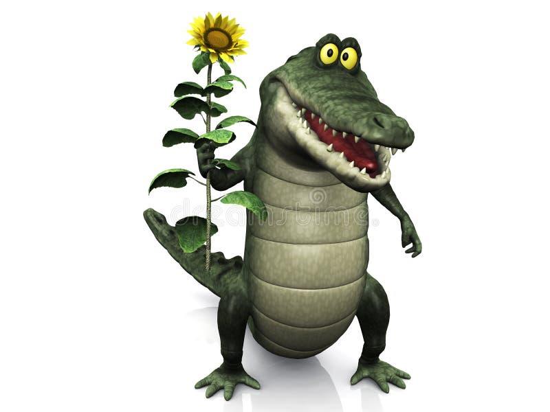 солнцецвет удерживания крокодила шаржа иллюстрация вектора