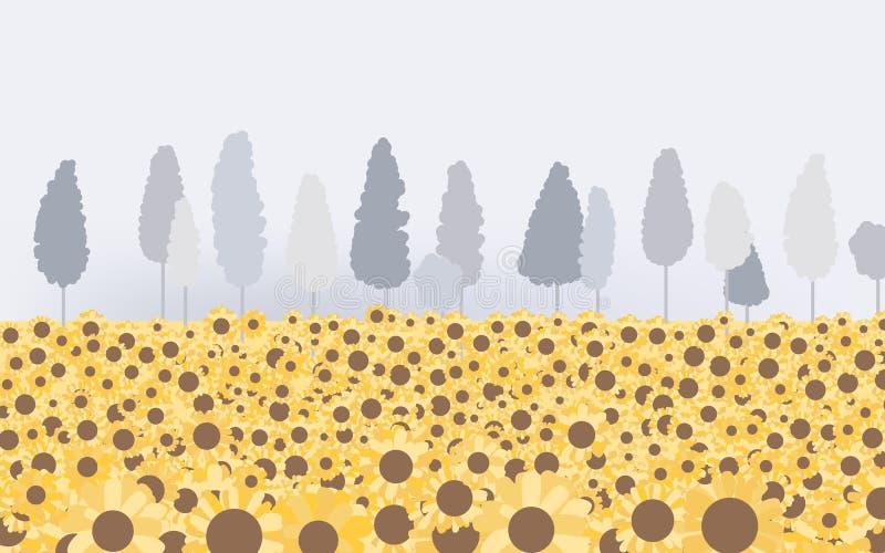 Солнцецвет хранили ландшафт с деревом и туманное бесплатная иллюстрация