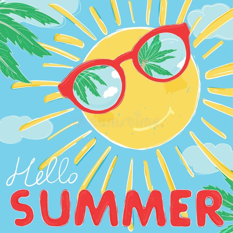 Солнце в улыбках стекел Солнечные очки отражают ладони и небо Здравствуйте лето иллюстрация штока
