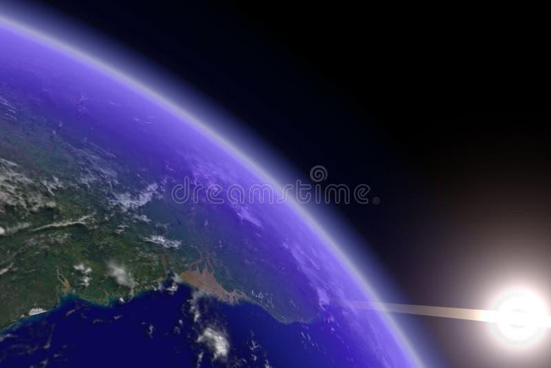 солнце горизонта земли стоковое фото rf