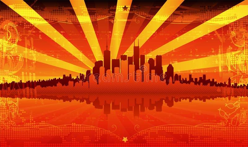солнце города иллюстрация штока