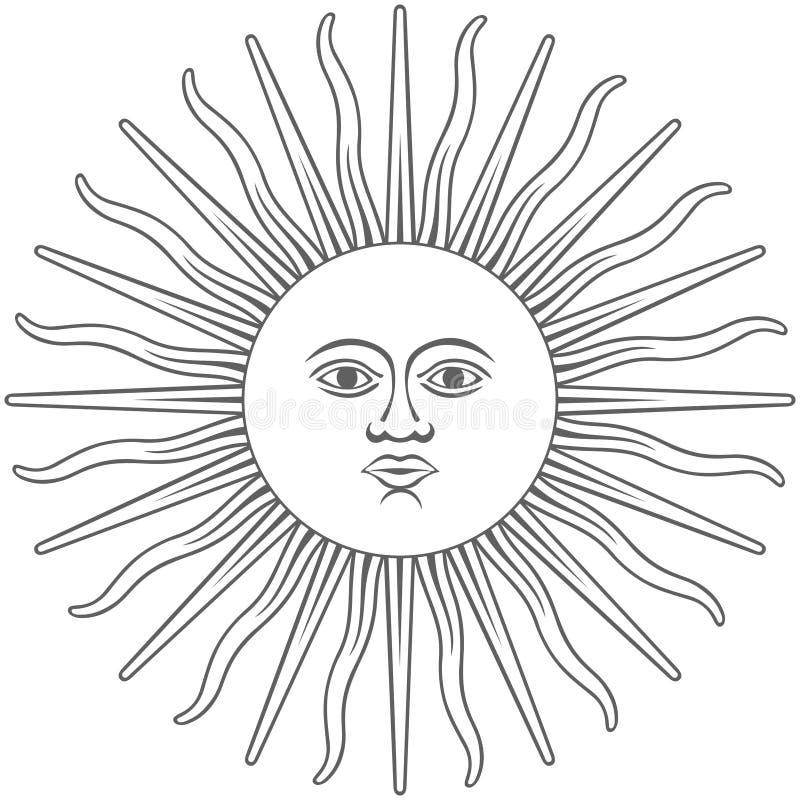 Солнце значка Inca графического иллюстрация штока