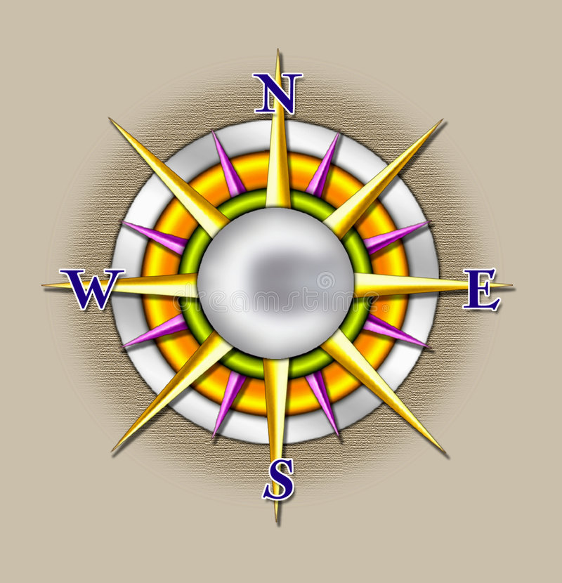 солнце иллюстрации компаса иллюстрация вектора