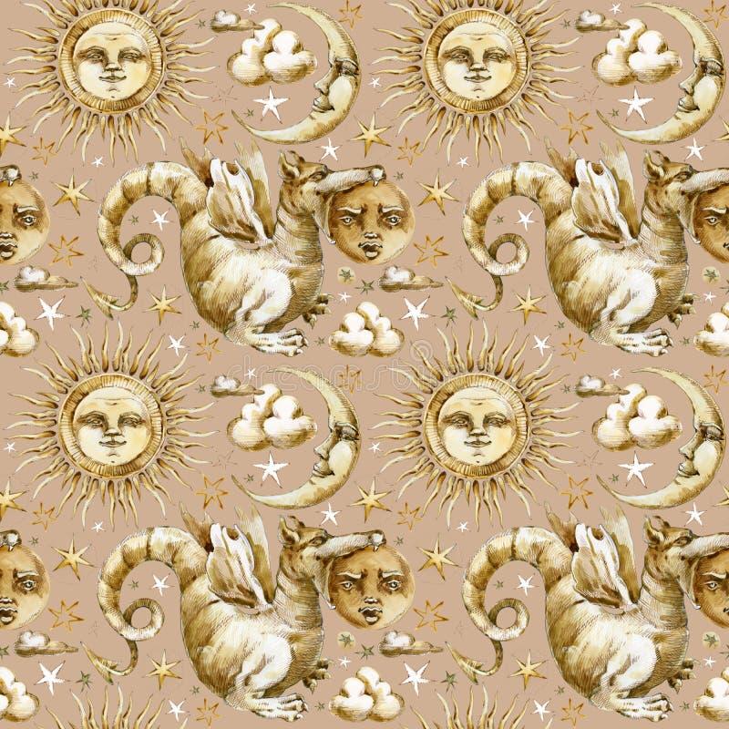 Солнце и картина луны безшовная комплект небесных символов, солнце иллюстрации акварели, луна, звезда, дракон, затмение с человеч иллюстрация штока