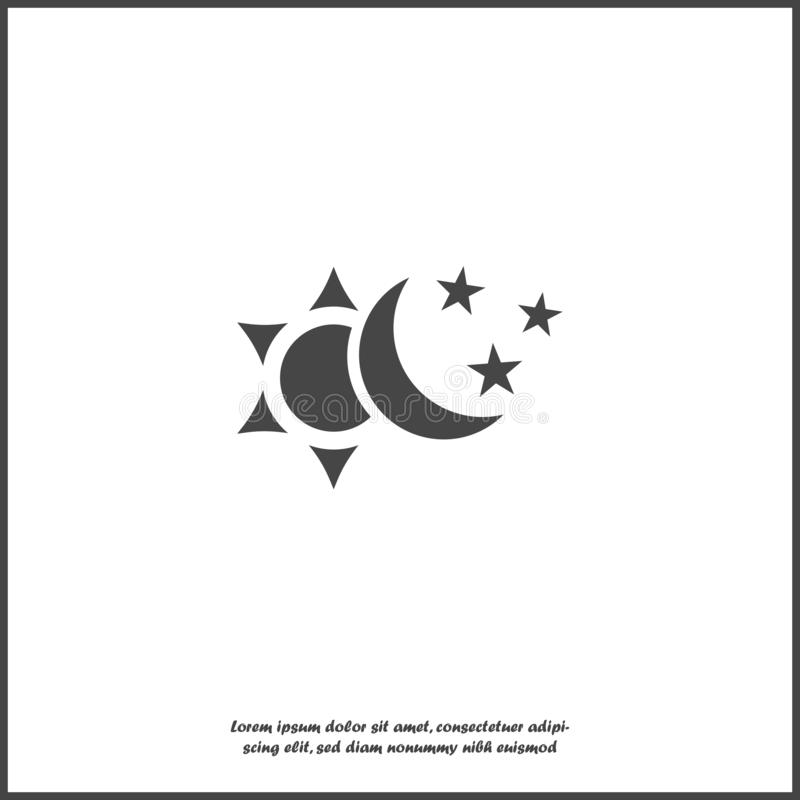 Солнце и луна с значком вектора звезд Символ изменения все время дальше белой изолированной предпосылки иллюстрация вектора