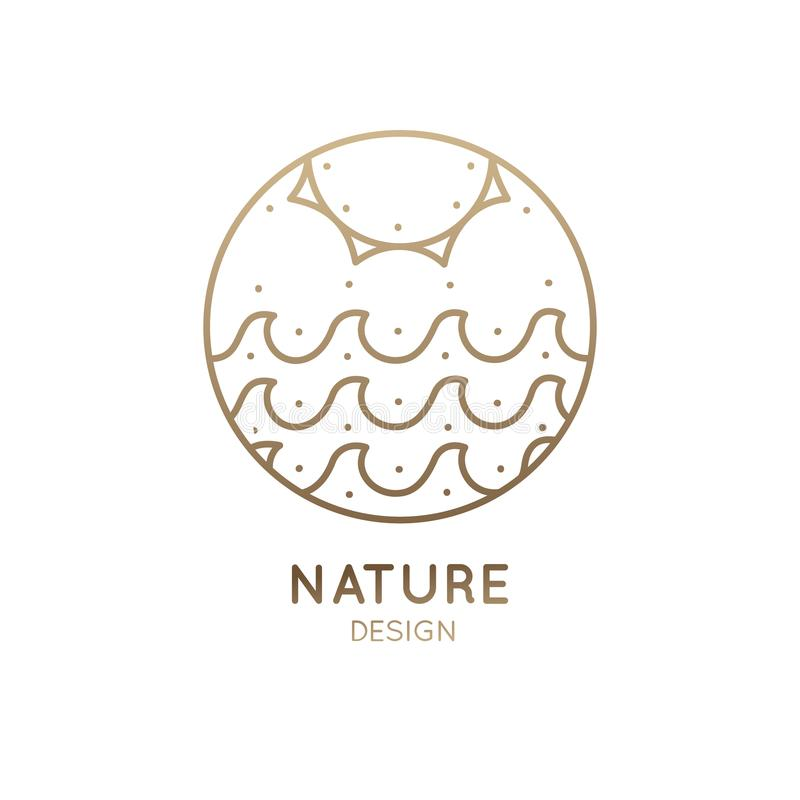 Солнце и море логотипа иллюстрация вектора