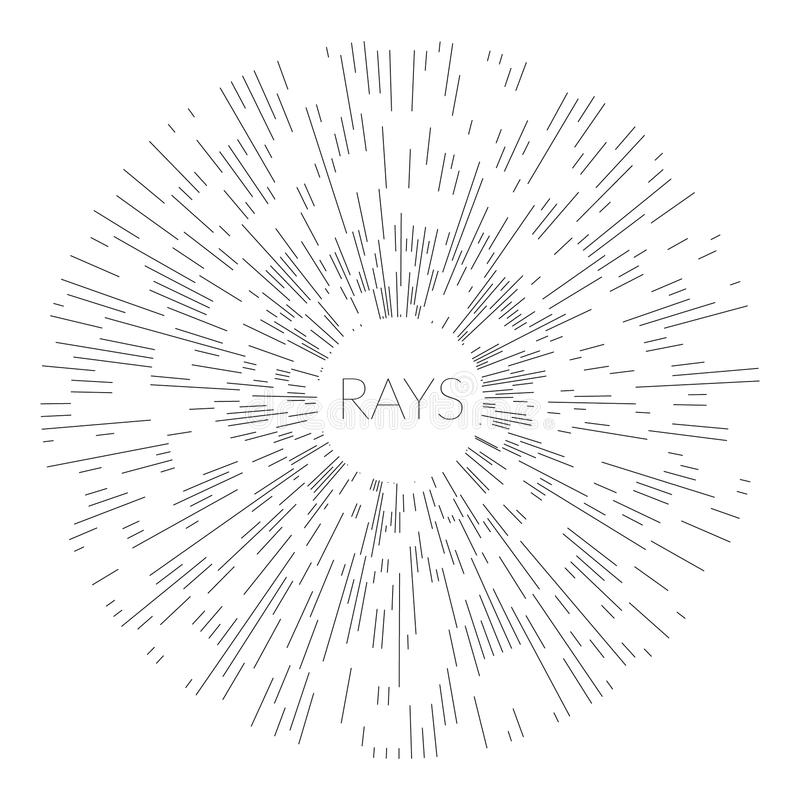 Солнце линейного стиля Арт Деко чертежа винтажное разрывало рамки в черно-белых цветах бесплатная иллюстрация