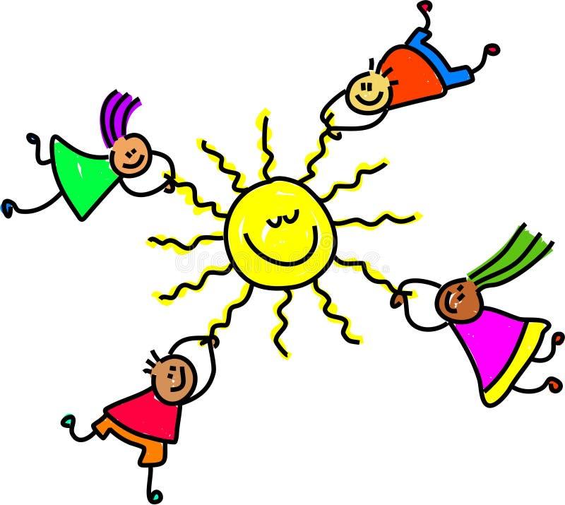 солнце малышей иллюстрация штока