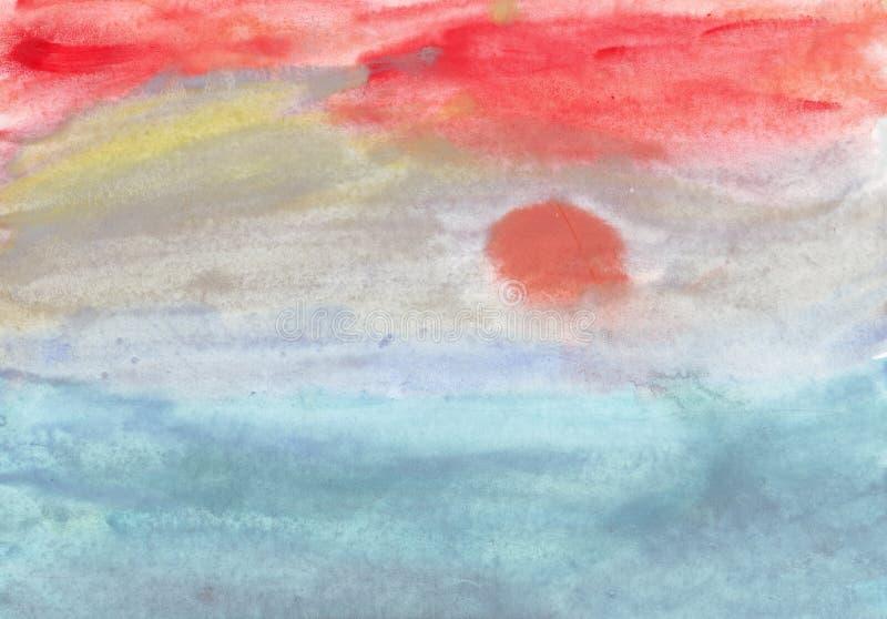 солнце моря ландшафта тумана иллюстрация вектора