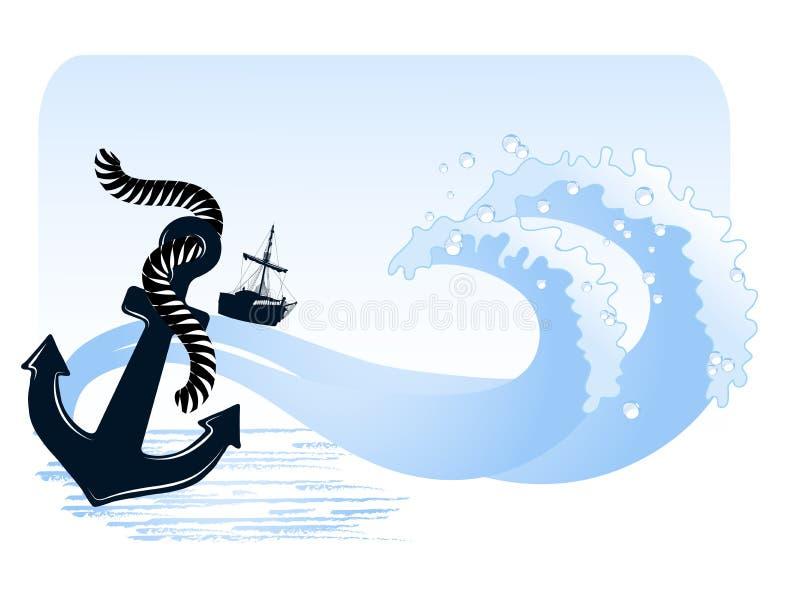 солнце моря луча fiords предпосылки иллюстрация вектора
