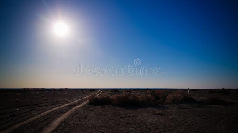 Солнце над дном Аральского моря, пустыни Aralkum, Karakalpakstan, Узбекистана стоковые фотографии rf