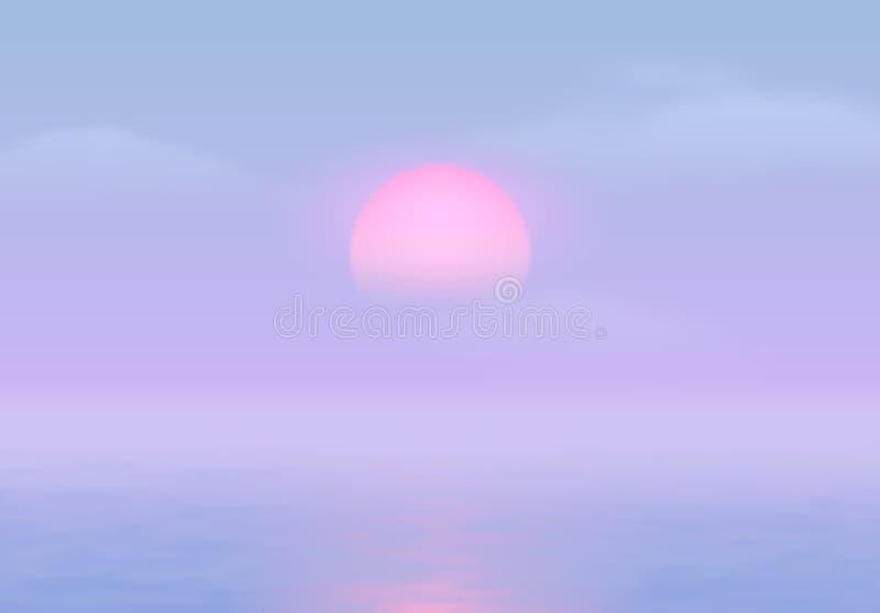 Солнце над морем с дорогой солнца и vaporwave 90s ввело голубые и розовые цвета в моду бесплатная иллюстрация