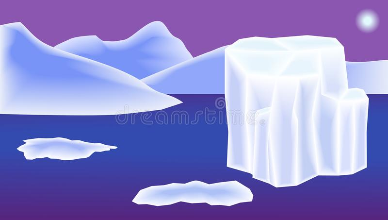 Солнце океана гор ландшафта, айсберга и льда обои для монитора, пейзаж иллюстрация вектора