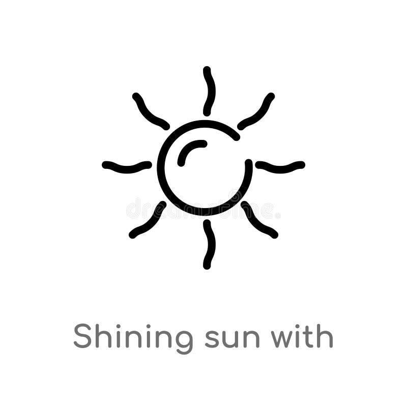 солнце плана светя со значком вектора лучей изолированная черная простая линия иллюстрация элемента от концепции природы editable бесплатная иллюстрация
