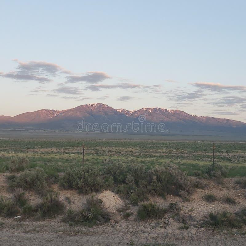 Солнце пустыни наклонило горы стоя высокоросло стоковое фото rf