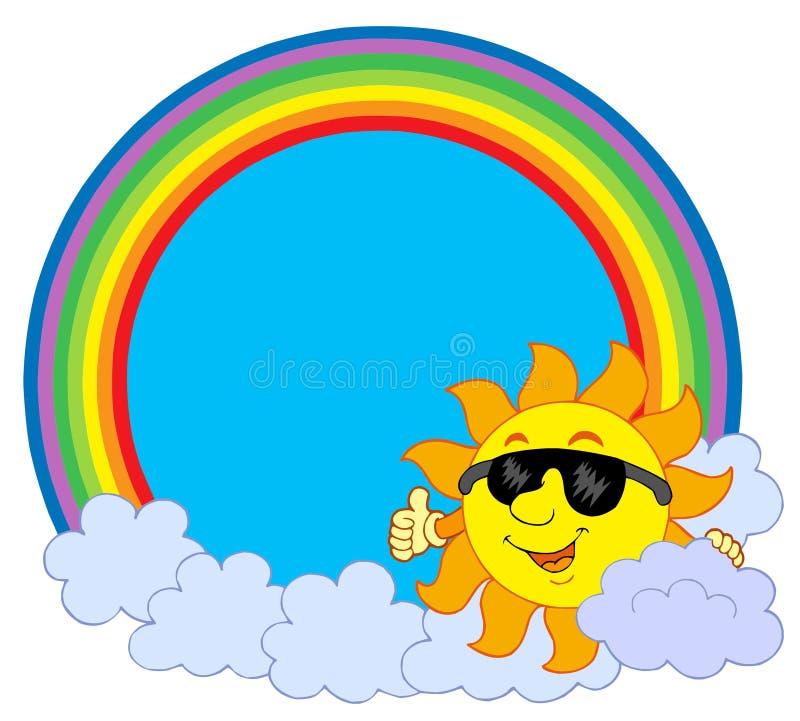 солнце радуги облака круга бесплатная иллюстрация