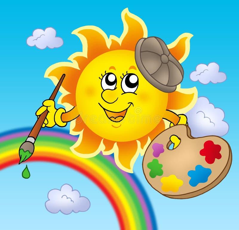 солнце радуги художника иллюстрация вектора