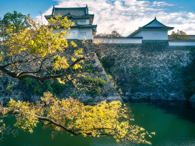 Солнце раннего утра на западном наружном рове замка Осака в Японии стоковые фото