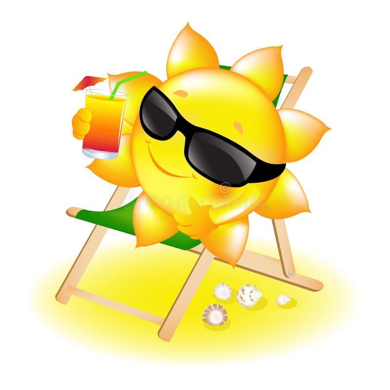 солнце салона коктеила фаэтона иллюстрация штока