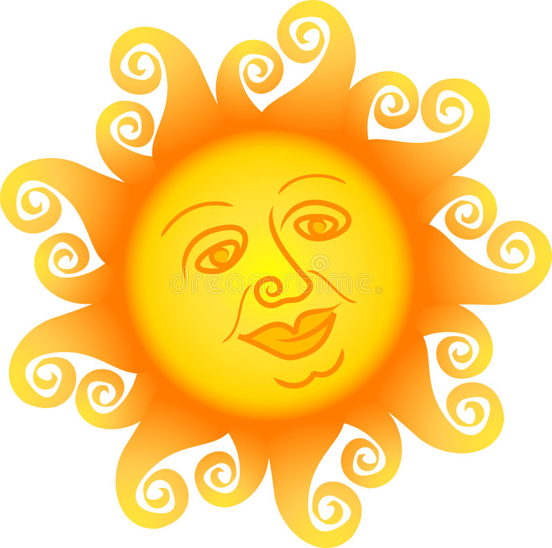 солнце стороны шаржа ai иллюстрация штока