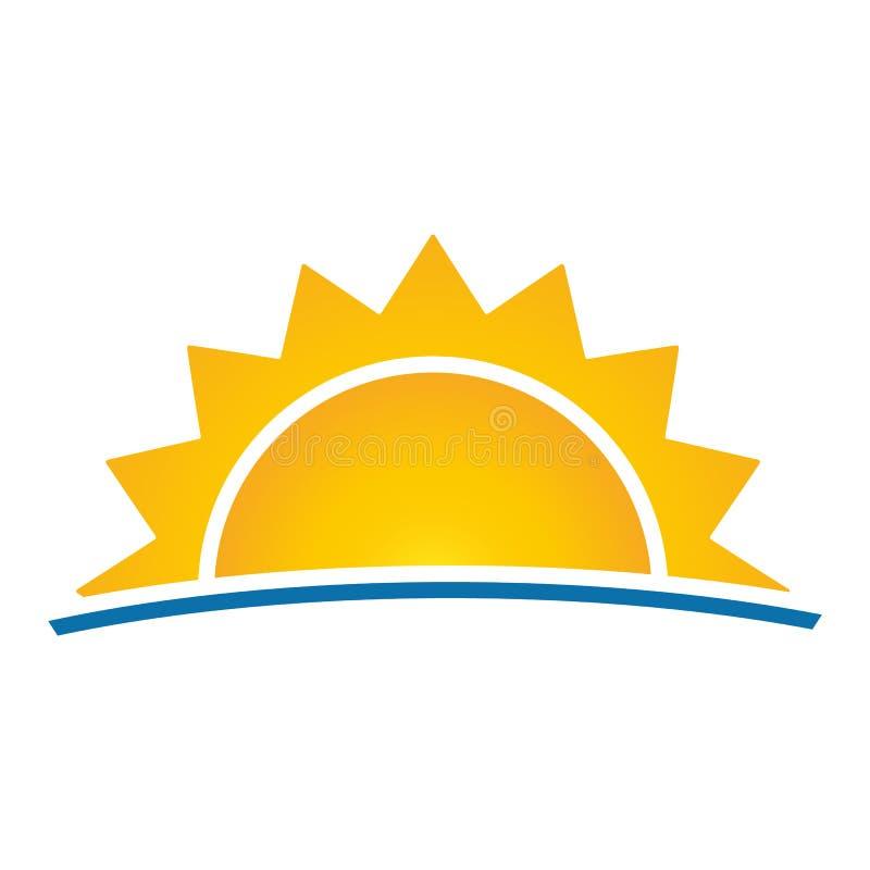 Солнце с вектором eps10 лучей Линия океана солнце с лучами подписывает летние каникулы над lineal иллюстрацией вектора предпосылк бесплатная иллюстрация