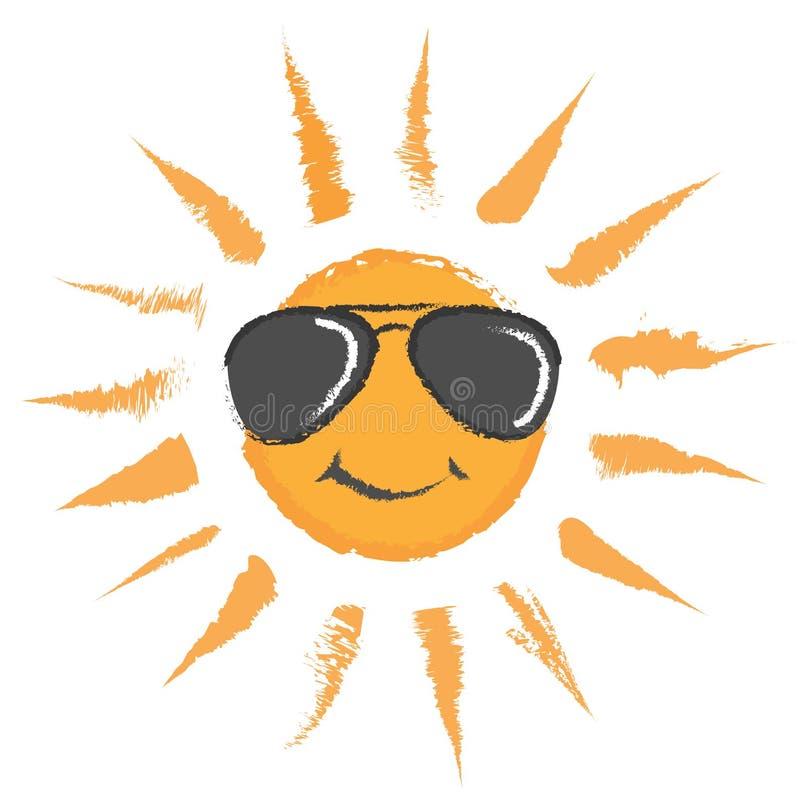 Солнце с значком вектора солнечных очков иллюстрация вектора