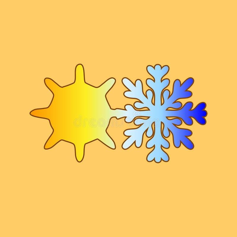 Солнце с снежинкой Hydrometeorology Холодная жара вектор день солнечный Погода икона иллюстрация вектора
