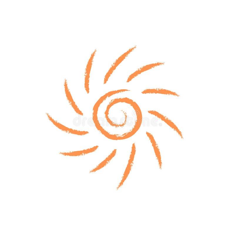 Солнце с чертежом логотипа лучей изолировало иллюстрация штока
