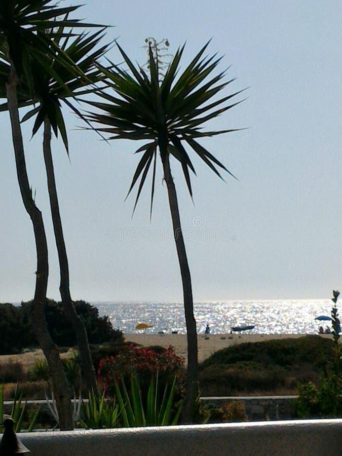 солнце установленное на пляж стоковая фотография rf