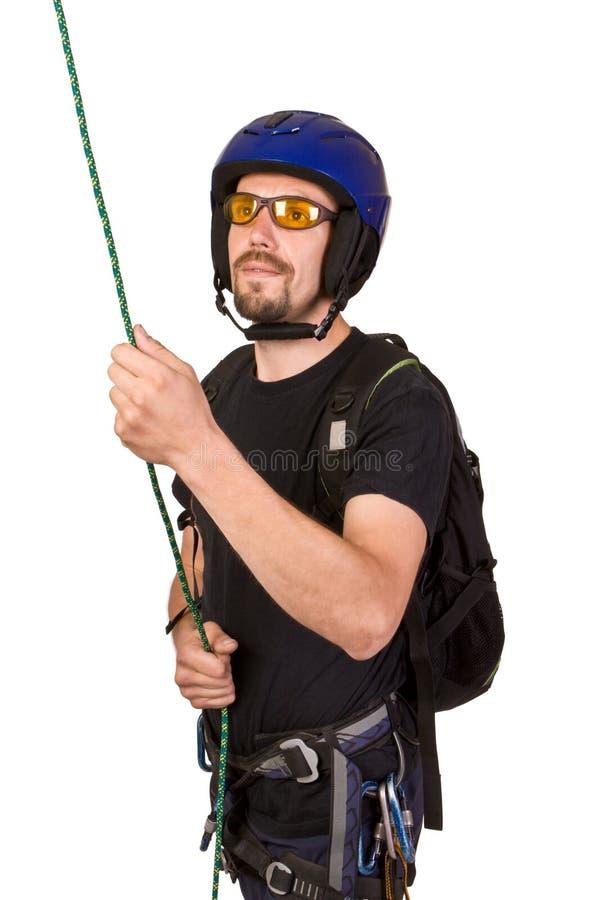 солнце утеса шлема альпиниста стоковое фото