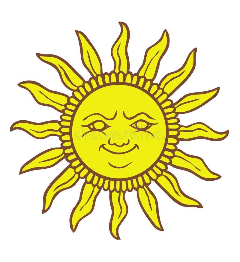 солнце шаржа сь иллюстрация вектора