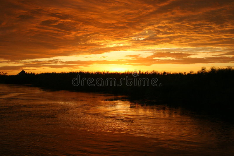 солнце okavongo стоковое фото rf