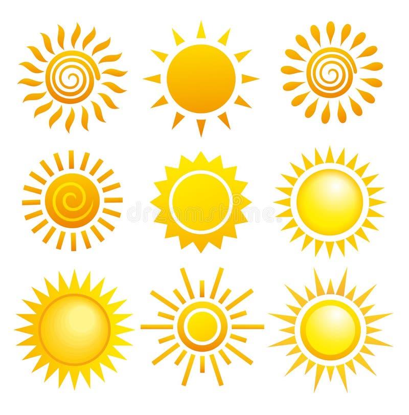 солнце s установленное иллюстрация вектора