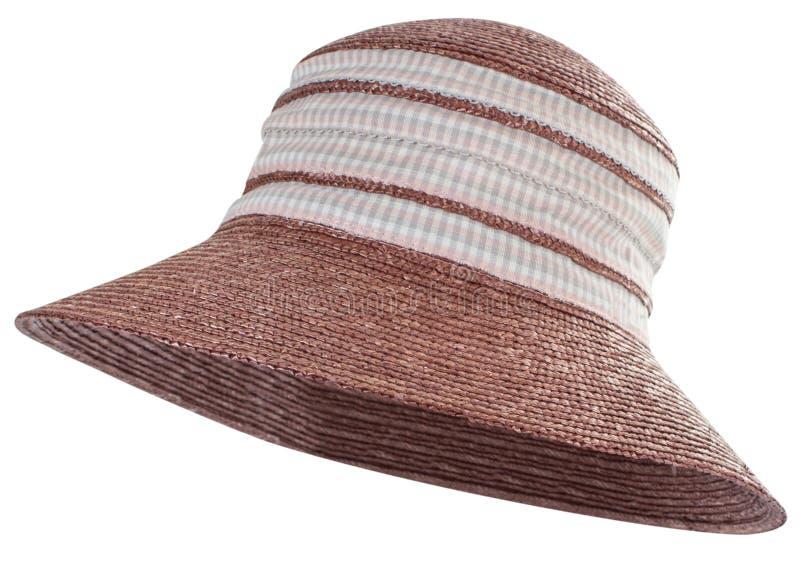 Соломенная шляпа Брауна с checkered лентой стоковая фотография rf