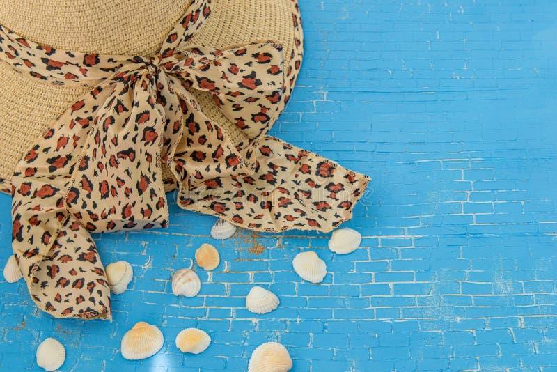Соломенная шляпа для женщины с печатью леопарда, seashells на голубой предпосылке стоковые фотографии rf