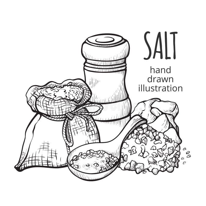 Соль в наборе руки мешка вычерченном иллюстрация вектора