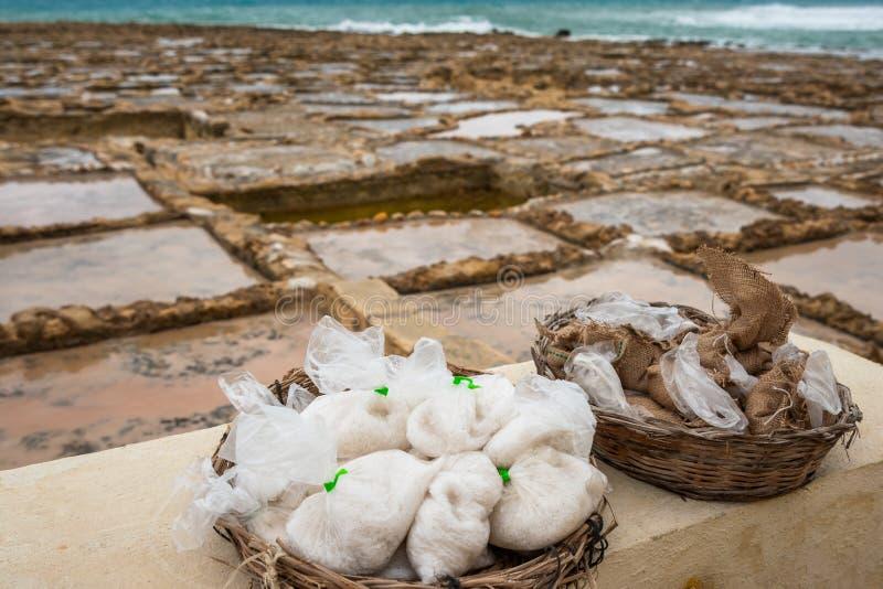 Соль в сумках стоковые фотографии rf