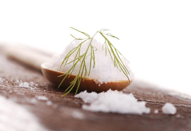 Соль на деревянной ложке стоковые изображения