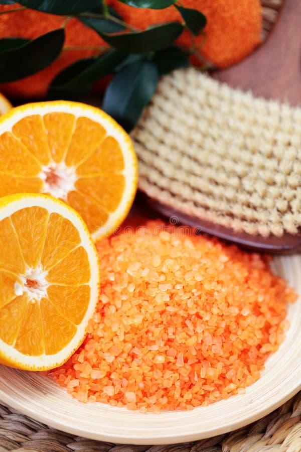 соль померанца ванны стоковая фотография rf