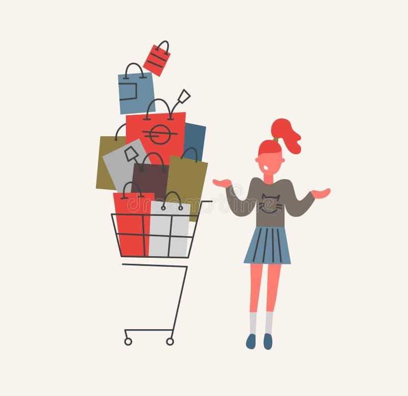 Сомнения девушки в магазине с тележкой вполне иллюстрации вектора хозяйственных сумок бесплатная иллюстрация