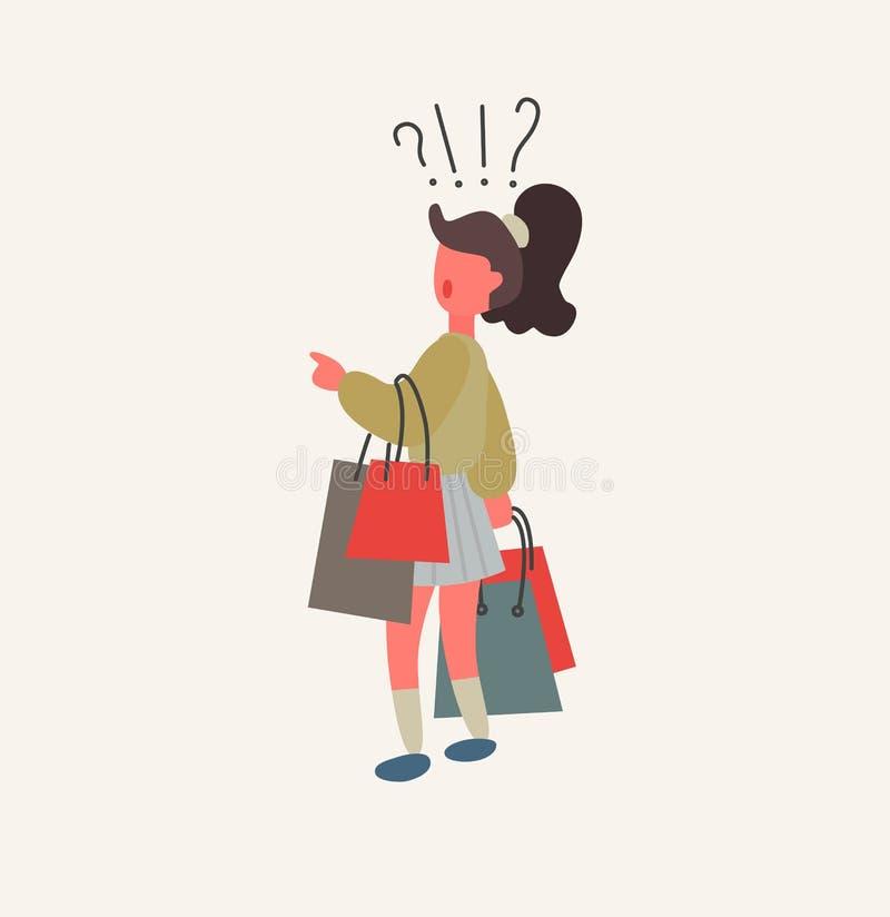 Сомнения девушки на иллюстрации вектора хозяйственных сумок магазина и владения бесплатная иллюстрация