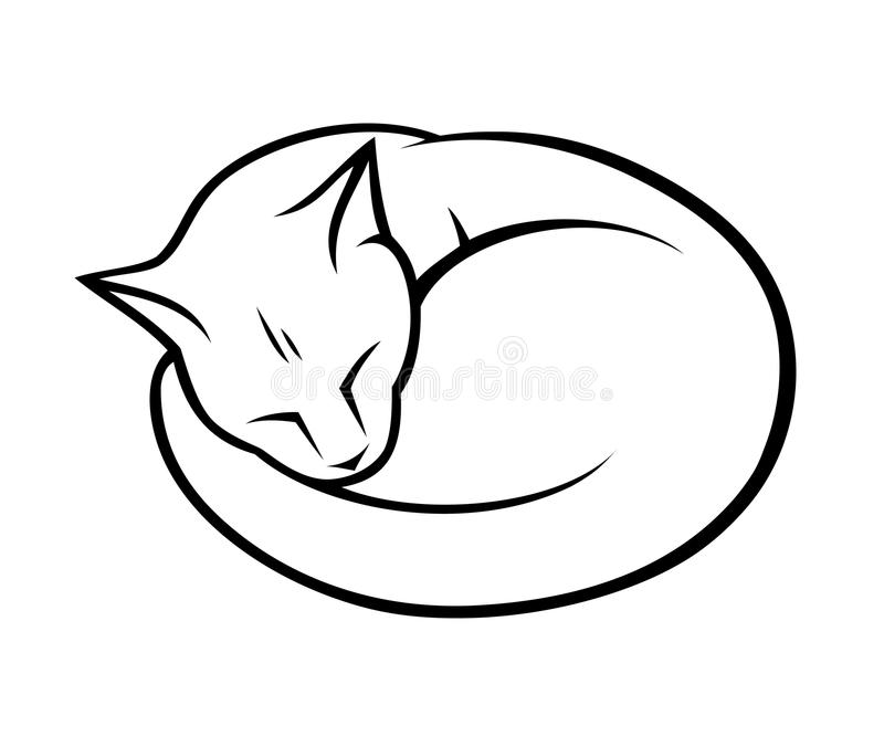 Сонный кот иллюстрация вектора