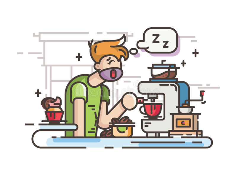 Сонный парень делая кофе иллюстрация штока