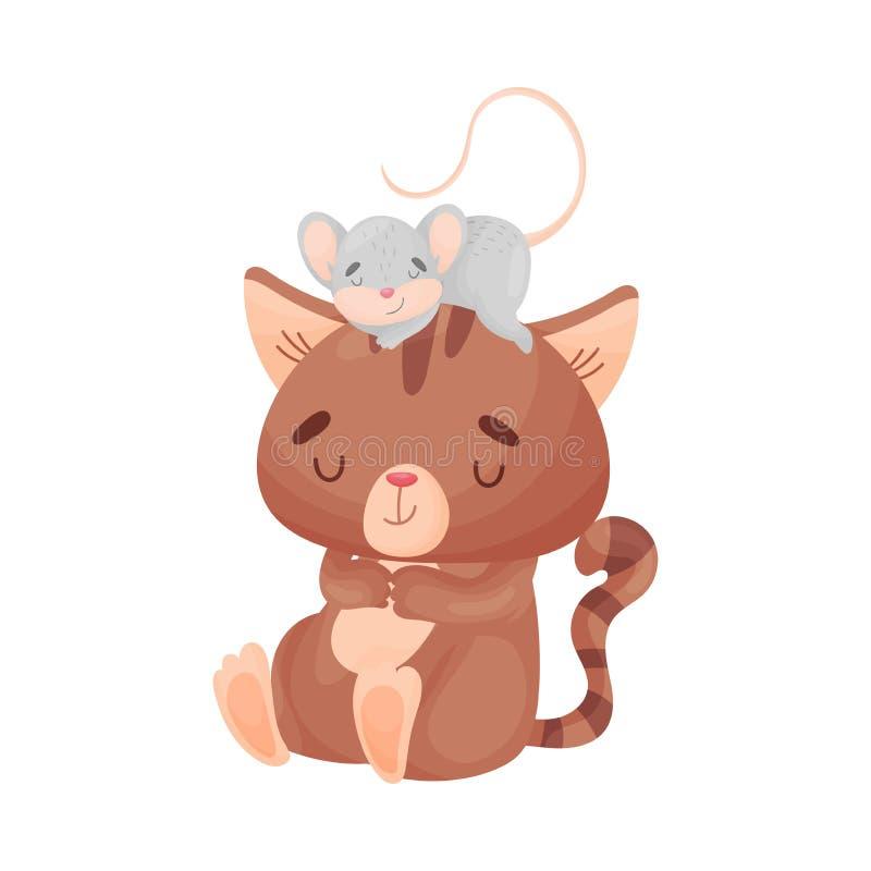 Сон кота и мыши мультфильма совместно r иллюстрация штока