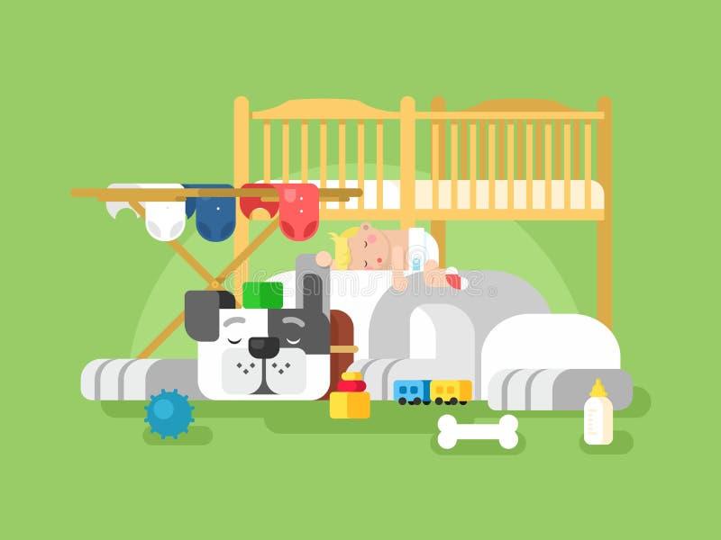 Сон собаки и младенца иллюстрация вектора