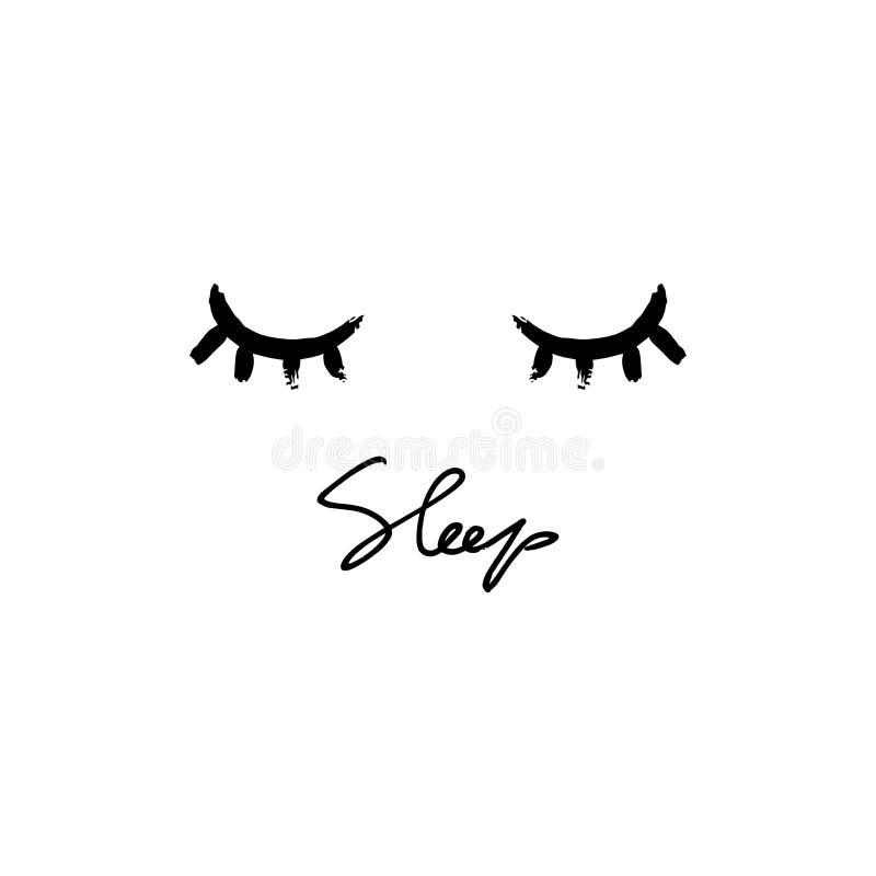 Сон фразы руки вектора вычерченные и illustraion глаз Литерность на белой предпосылке иллюстрация вектора