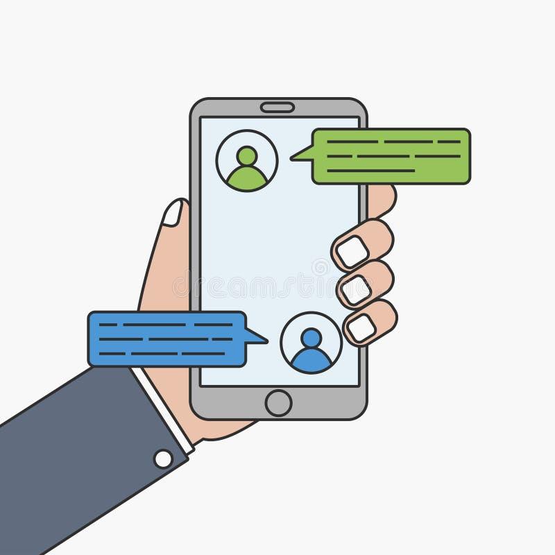 Сообщение болтовни мобильного телефона Рука с smartphone иллюстрация штока