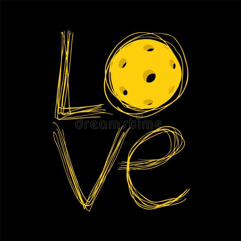 Сообщение влюбленности Pickleball иллюстрация вектора