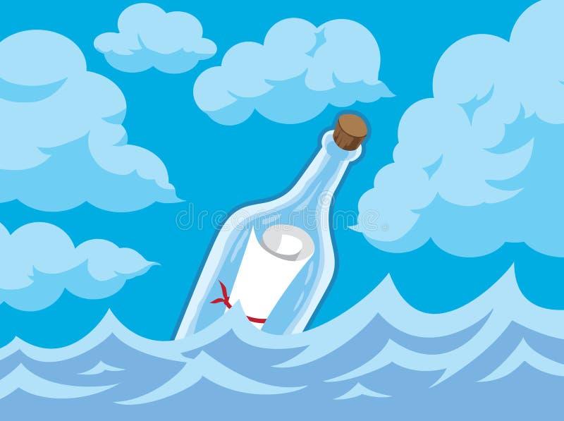 Сообщение в бутылке иллюстрация штока